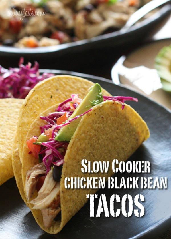 Slow Cooker Chicken & Black Bean Tacos | mountainmamacooks.com