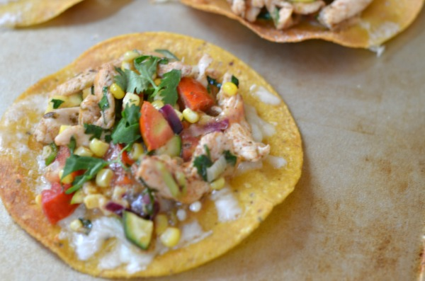 Chicken and Summer Vegetable Tostadas   mountainmamacooks.com #TacoTuesday