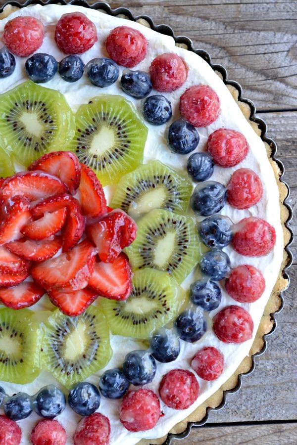 Fresh Fruit Tart with Creme Fraiche Whipped Cream   mountainmamacooks.com