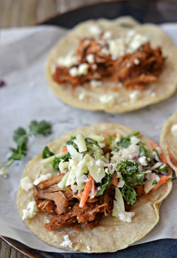 BBQ Pork Tacos with Cilantro Coleslaw | mountainmamacooks.com
