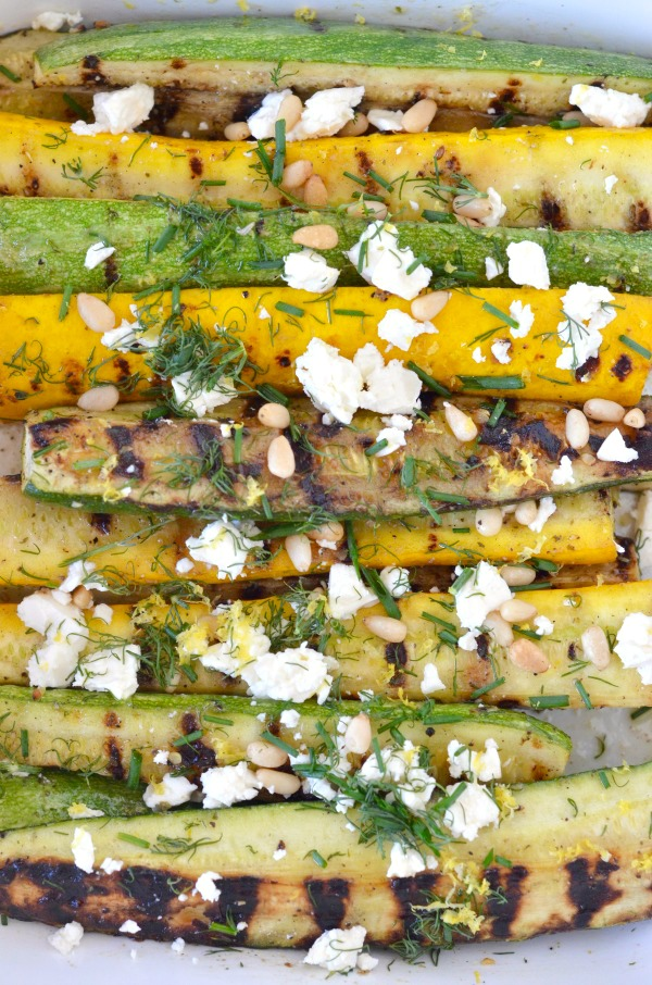 Grilled Zucchini with Feta, Lemon & Fresh Herbs | mountainmamacooks.com