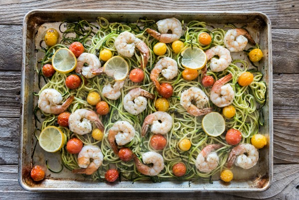 Shrimp 'Zoodles' Sheet Pan Dinner | www.mountainmamacooks.com
