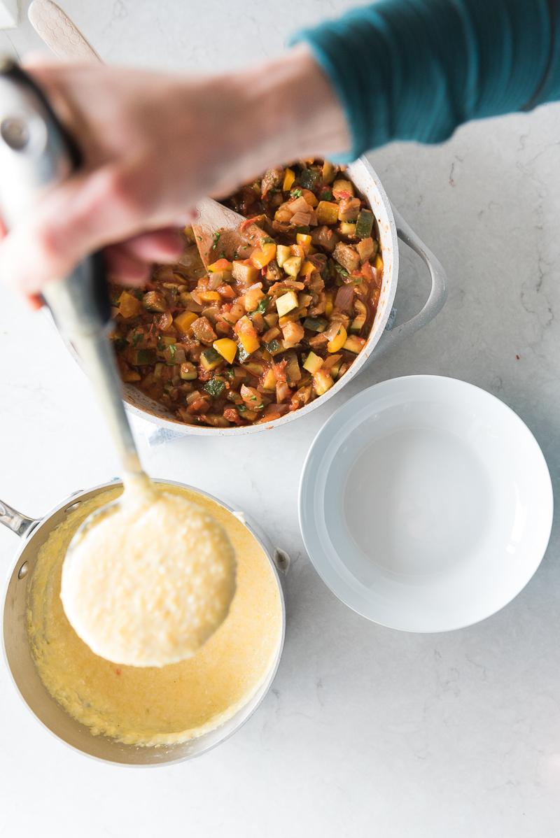 Quick Ratatouille with Parmesan Polenta | www.mountainmamacooks.com