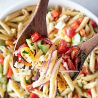 Pasta salad is best made ahead. I made this giant bowl the day before. So many gorgeous colors. www.mountainmamacooks.com