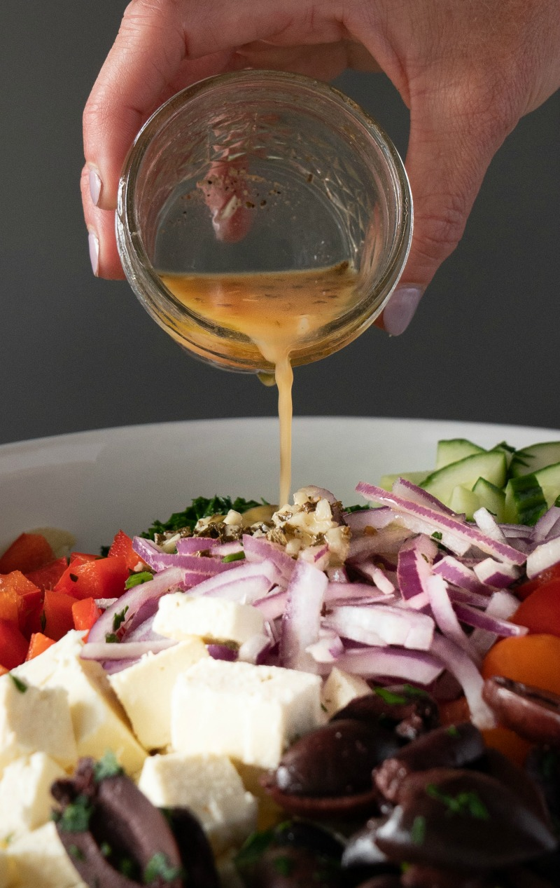 Feta, red onion, pasta, greek vinaigrette, makes the best pasta salad. www.mountainmamacooks.com