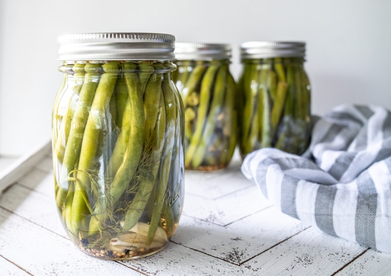 A canning recipe for sweet pickled green beans. Not a canning recipe but a quick pickle. Recipe on Mountain Mama Cooks.
