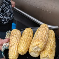 cooking corn on the cobb on a Traeger Grill.