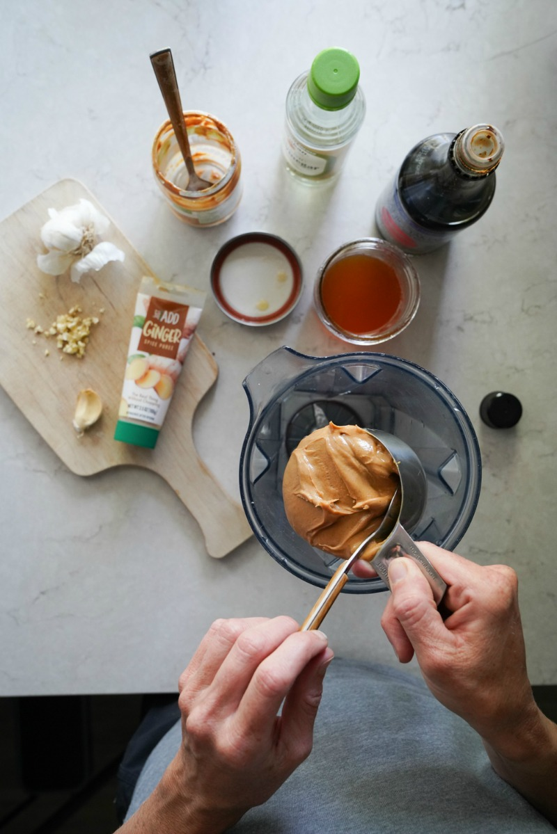 Making the easiest peanut sauce recipe using a blender and pantry ingredients.