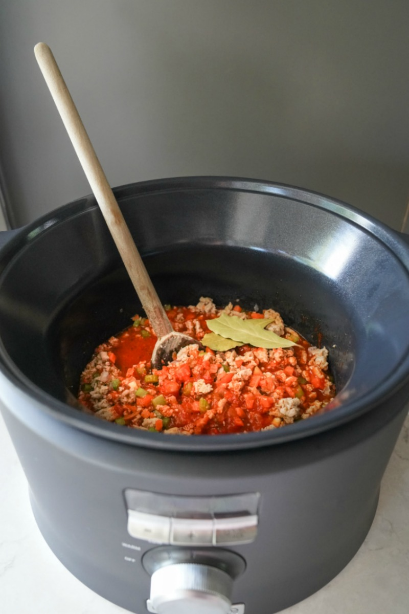 My favorite slow cooker recipe using lean ground turkey and makes a wonderful bolognese sauce.
