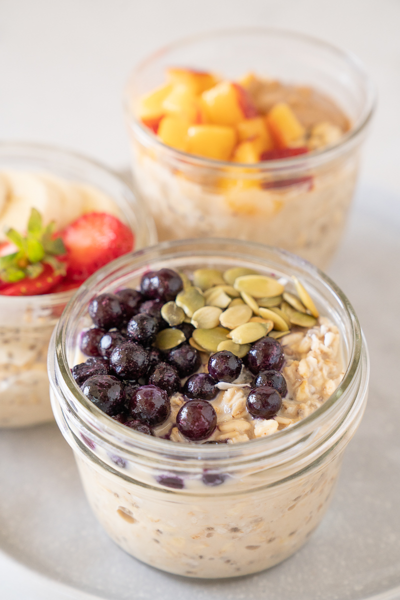 My go to recipe for overnight oats. It's far from basic and it's absolutely delicious. Topped with pepitas and blueberries. www.mountainmamacooks.com