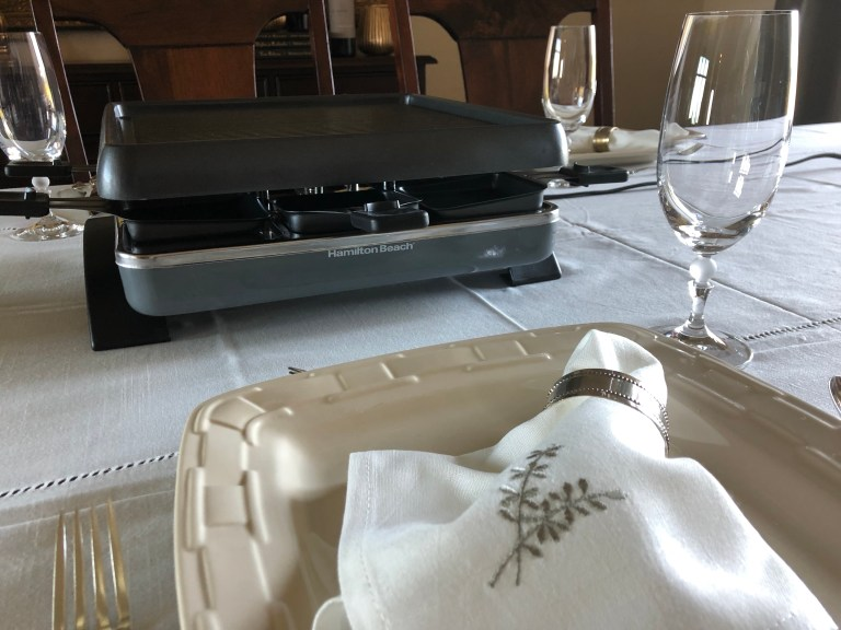 set table with raclette grill