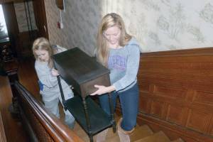 Bluefield College students move furniture