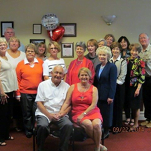 Edith and Dough Sisung (front) are celebrated on the occasion of their 50th wedding anniversary. Friends met recently at Elks 19th Hole for Sunday brunch and a surprise celebration.