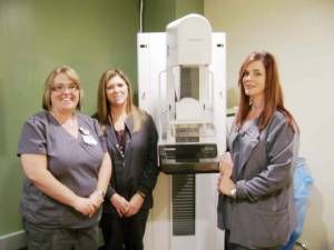 Mammography Technologists: Cindy Keen (left), Dianne Loving and Kathy Elmore