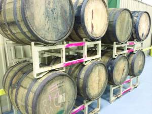 From Bourbon to Beer - Barrels used by Smooth Ambler Spirits get repurposed at Greenbrier Valley Brewing Company for crafting the breweries new Anniversary sour beer. The beer will be available in October of 2015. (Photo by Leah Deitz)