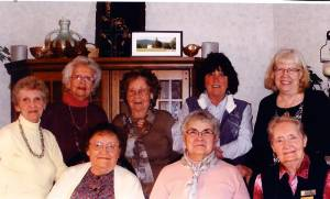 March Williamsburg CEOS meeting: Seated: Dorothy Hayes (left), Barbara Deeds and C.K. Perkins; Standing: Loretta Shirley (left), Blanche Knicely, Virginia Hanna and Patty Post.