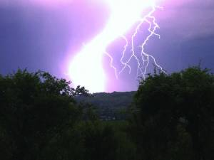 Frankford resident Nikki Dotson braved Monday evening's storm to photograph the lightning that stretched across the sky at dusk. Lightning flashes lit up the sky for the better part of an hour as the wind gusted across the Greenbrier Valley. The storm knocked out electricity north of Lewisburg for a short time, and pea-sized hail fell in Alderson. (Photo courtesy of Nikki Dotson)
