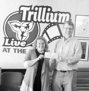 Bill Turner of Pyles and Turner Foundation present grant award to Arabeth Balasko of Trillium Performing Arts Collective (Photo by Katie Fisk)