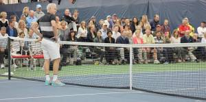 Rain delays drive Greenbrier tennis matches inside John McEnroe processes a questionable line call during Sunday's intimate exhibition at The Greenbrier. The Greenbrier Champions Tennis Classic was held indoors on Sunday after rain prevented the matches from being held outside at the resort's new tennis facility, Center Court at Creekside. (Photo courtesy Craig Miller - Serenity Now Outfitters)