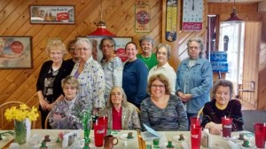 March meeting of the Blue Sulphur CEOS: Seated: Judy Stacks (left), Mary Clay, Jessica Clay and Marge Eastridge; Standing: Beverly Pauley (left), Anne Bostic, Judy Hoover, Kate Wood, Carie Orthman, Judy Lohmeyer, Mary Mitchell and Alice Clark.
