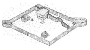 Sketch of Arbuckle's Fort showing some of the key features revealed through archaeology, by Dr. Stephen McBride.