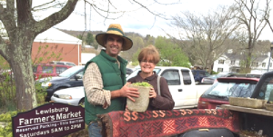 Glenn Singer, owner of the Stone Garden, and Mary Jo Thompson, chairman of the 2016 Home and Garden Tour. Thompson is holding a miniature Alpine succulent in a stone pot by artisan Allen Ritzman (1952-2013). The charming garden held by Thompson will be one of many items available at the silent auction and reception, which will be held at 4 p.m. at the General Lewis Inn following the Home and Garden Tour on Saturday, June 11. The Stone Garden at 208 Feamster Road in Lewisburg offers a wide variety of miniature Alpine succulents in hyper tufa and stone pots.