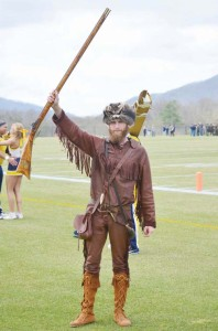 Troy Clemons, the WVU Mountaineer, at the Blue/Gold game last Saturday. (Mark Robinson photo)