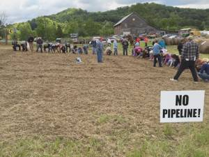 Nearly 60 people gathered at Blue Roamin' Farm to protest the pipeline and join the Bold Nebraska Native American ceremony