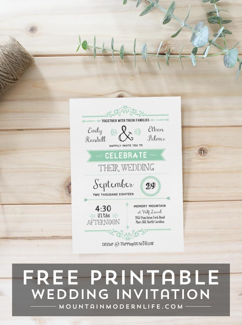 Recently engaged and planning a rustic or vintage-inspired wedding? Download this FREE Wedding Invitation Template and print out as many as you need!