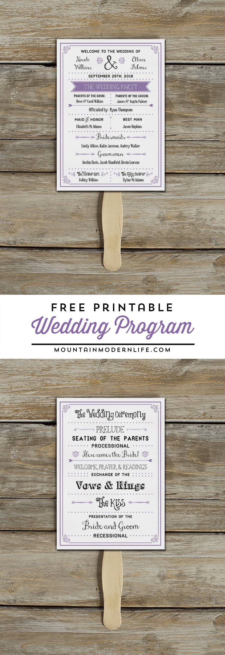 Unforgettable image for printable wedding program