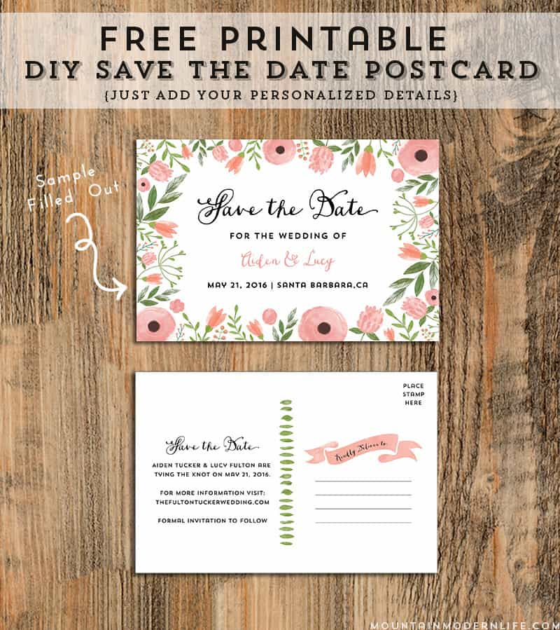 Diy Save The Date Postcard Free Printable Mountain Modern Life