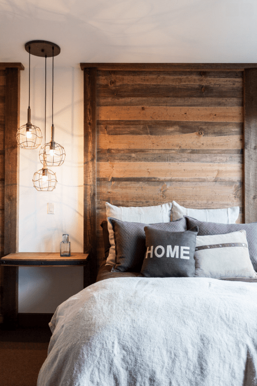 Modern Cabin Decor Bedroom Home Gray Bed Headboard Rustic Comforter Home Design Interior Wooden Pallet DIY