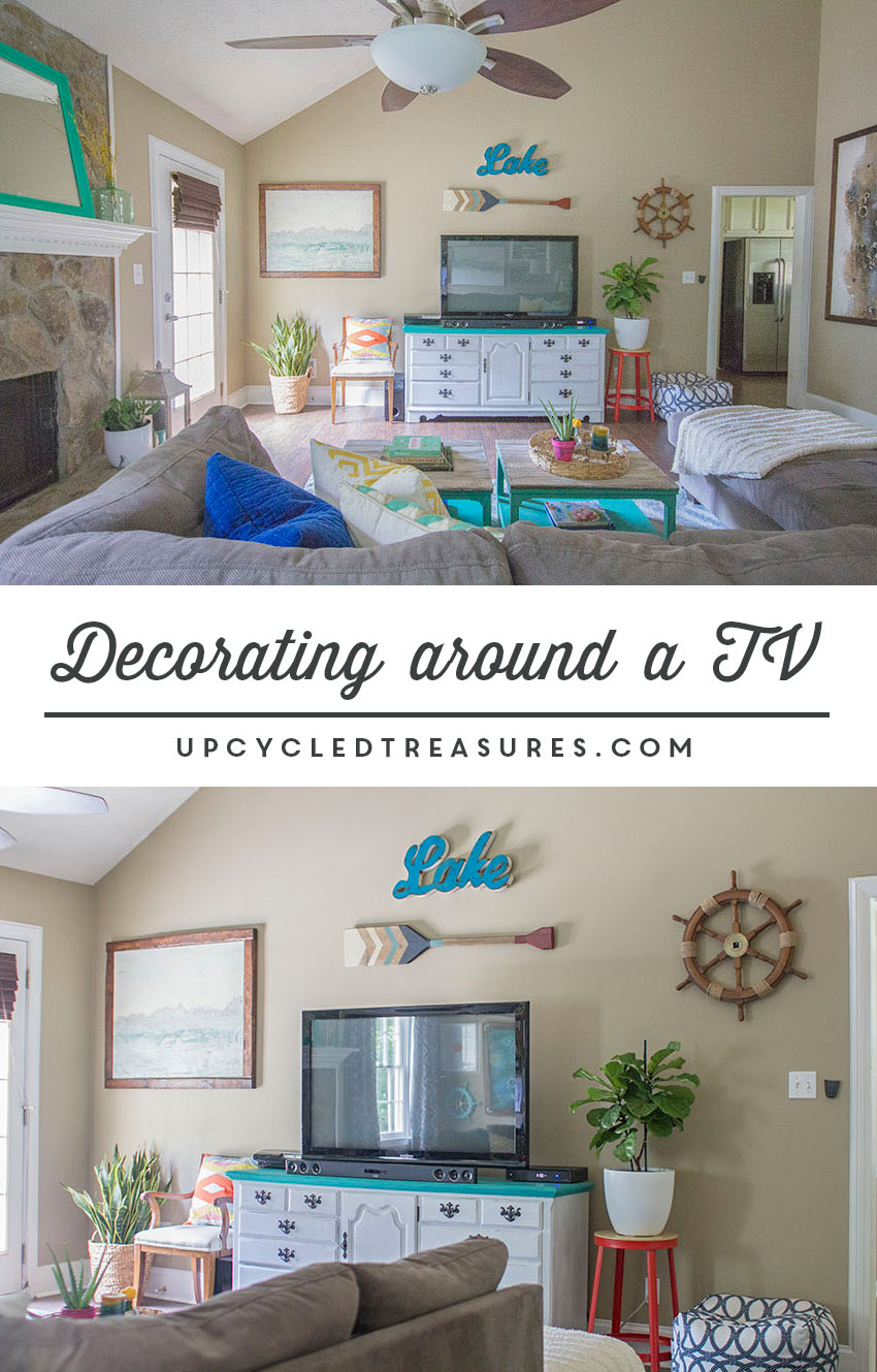 ideas-for-decorating-around-a-television-upcycledtreasures