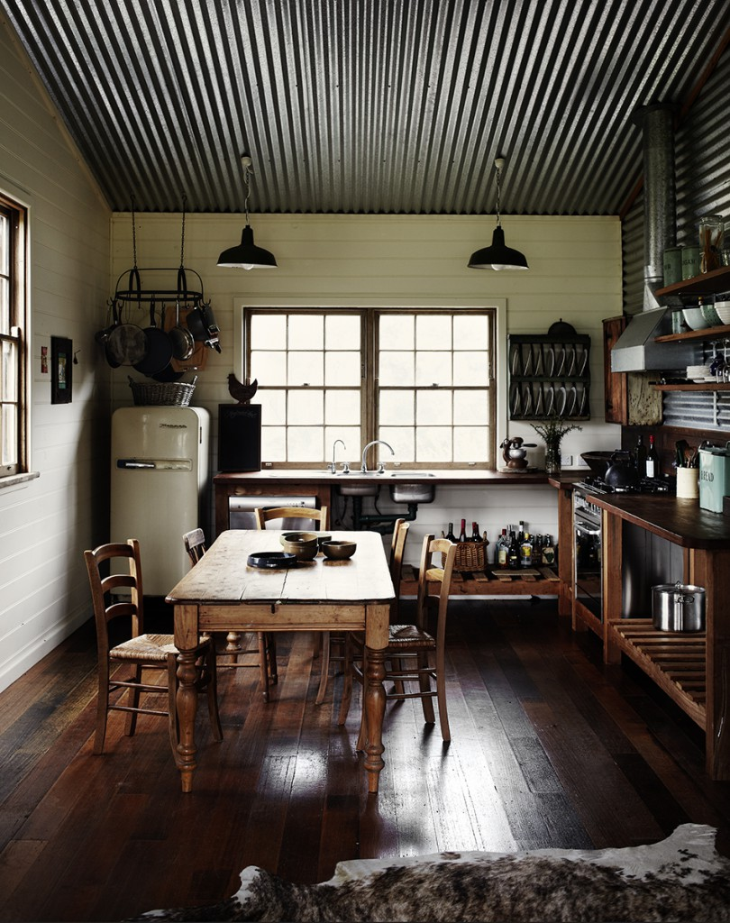 Kitchen with Corrugated Metal Ceiling   Sharyn Cairns