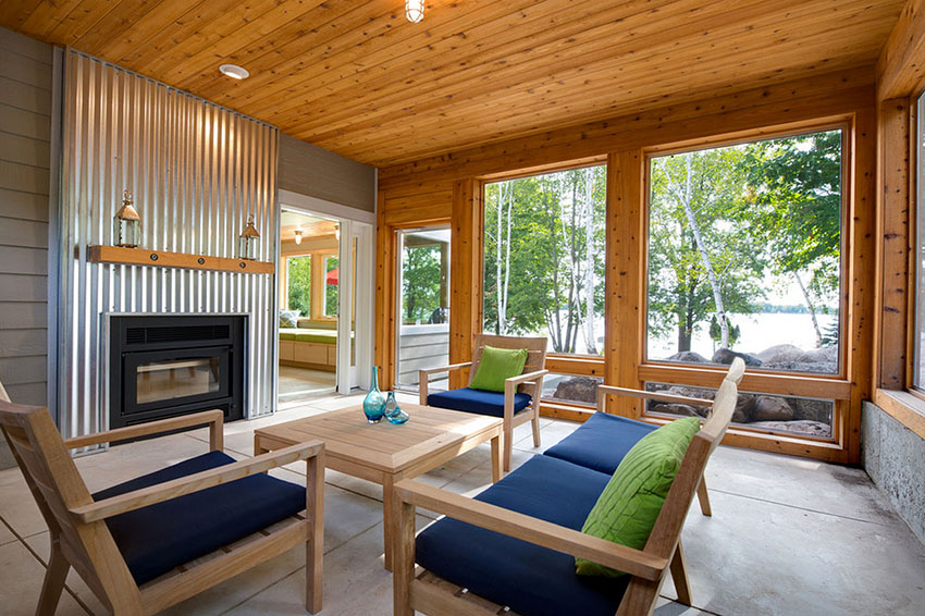 Corrugated Metal Fireplace   Radiant Creative Homes