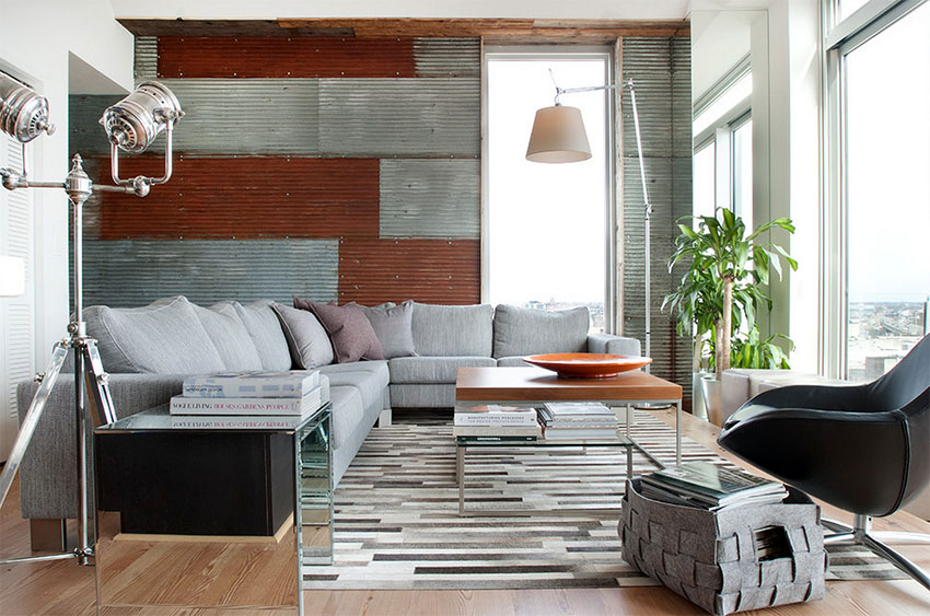 Contemporary Penthouse with Corrugated Metal Wall   Groundswell Design Group