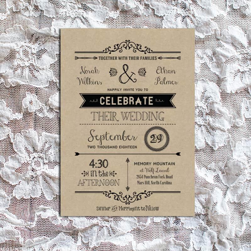 Chalkboard Wedding Invitation Template on pinterest slate style – Free Printable Rustic Wedding Invitations
