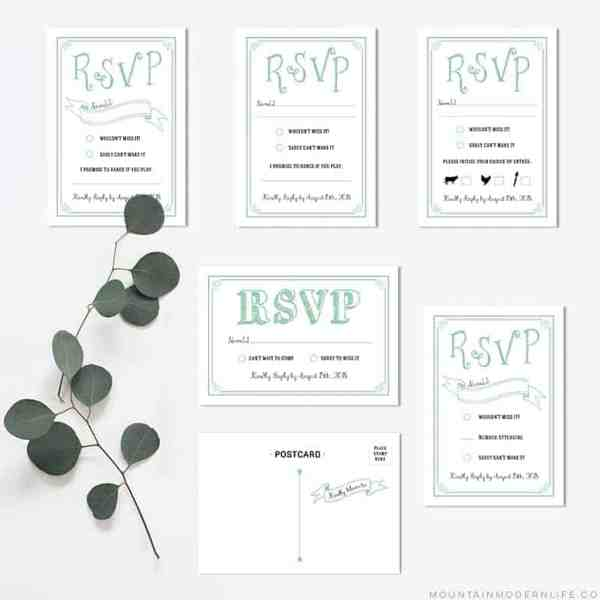 Printable Mint DIY Wedding RSVP Cards | MountainModernLife.com