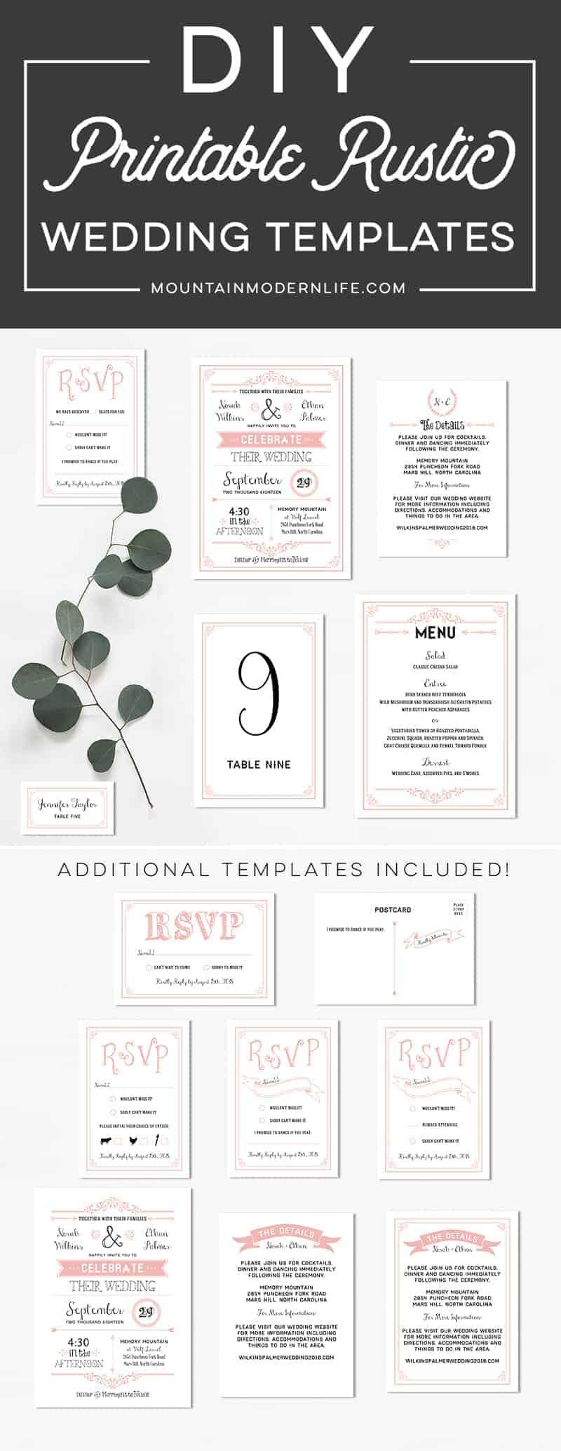 blush-pink-diy-rustic-printable-wedding-invitation-templates-mountainmodernlife.com