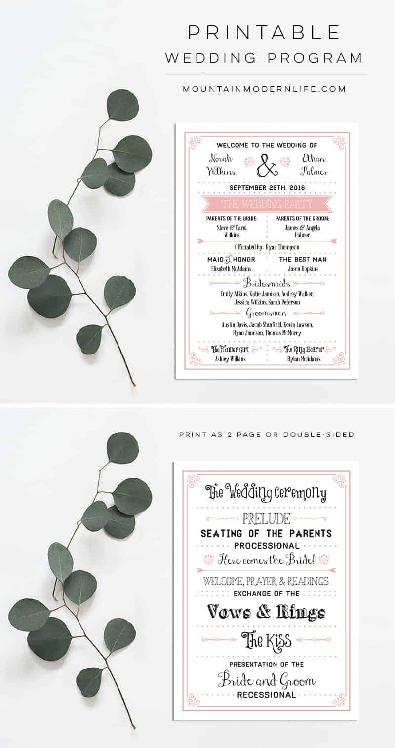 Printable Wedding Program | MountainModernLife.com