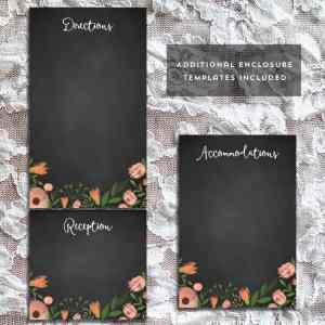 DIY Whimsical Floral Chalkboard Wedding Enclosure Cards