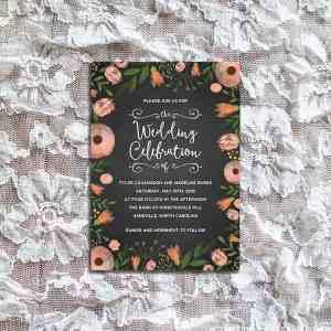 DIY Whimsical Floral Chalkboard Wedding Invitation