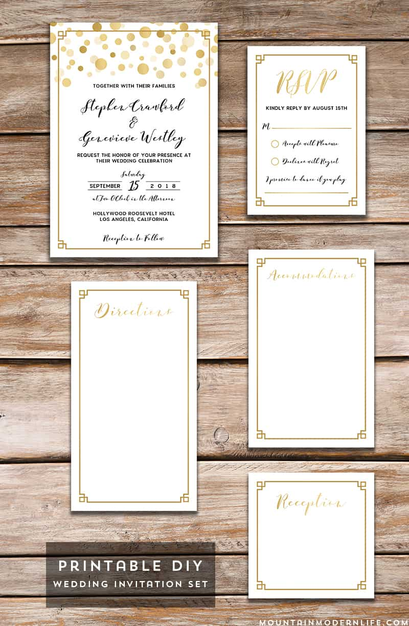save money by personalizing this printable modern gold diy wedding invitation set with your own wedding