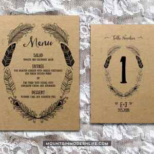 Printable Boho DIY Invitation Set - Menu + Table Number