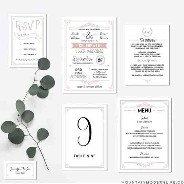 Printable Dusty Rose Wedding Invitation Set | MountainModernLife.com
