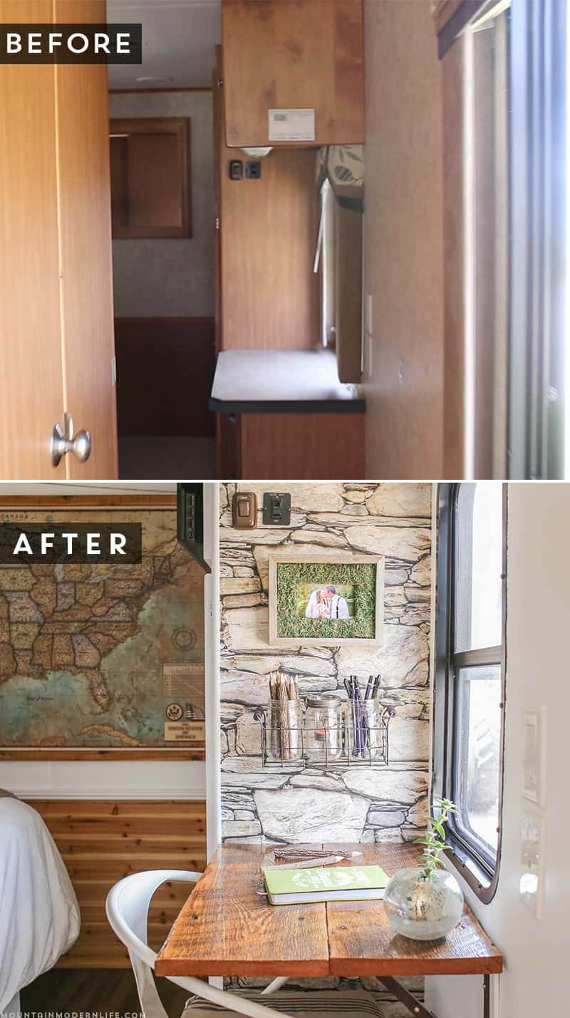 See how we added character and function to our RV by creating a wall-mounted desk from reclaimed wood, which was brought to life with the help of Minwax! MountainModernLife.com