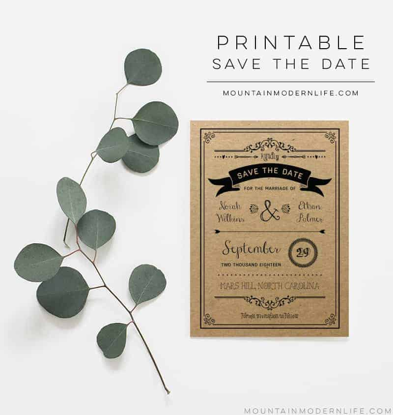 Printable Save the Date Template - Sample Shown on Kraft Paper   MountainModernLife.com