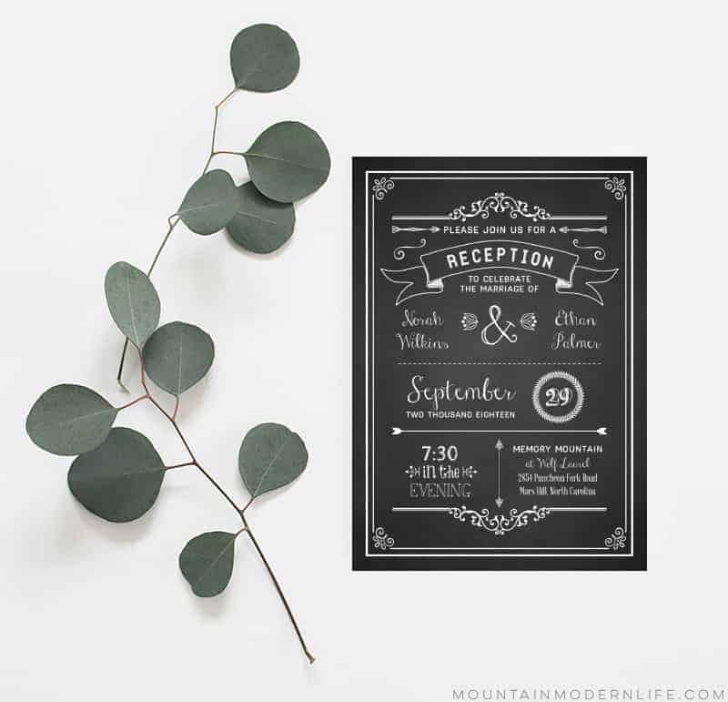 Printable Wedding Reception Only Invitation   MountainModernLife.com