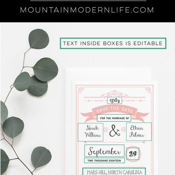 Printable Save the Date | MountainModernLife.com