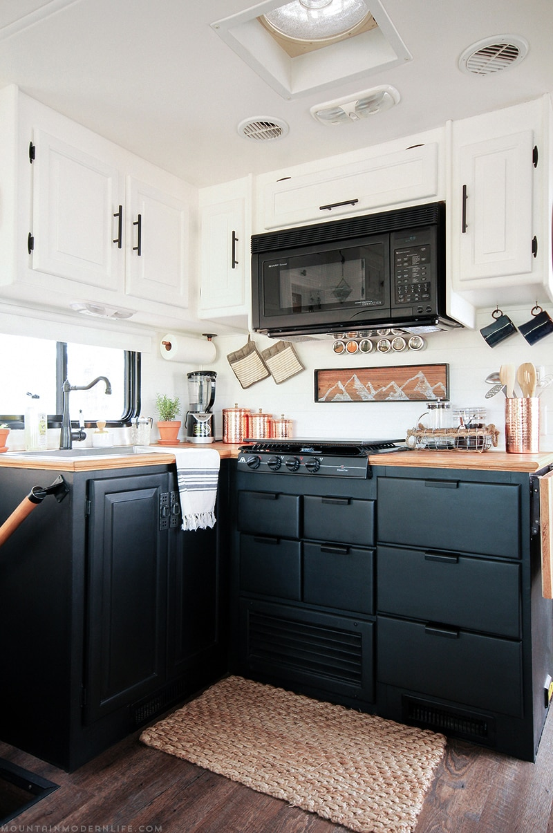 Two Toned Kitchen Cabinets In RV | MountainModernLife.com